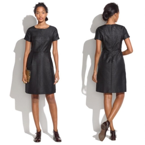 Madewell Dresses & Skirts - Madewell Fitted Brocade Dress Cap Sleeve Black 8